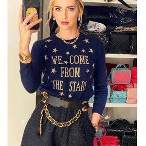 Cosmicchic Women Stars Pullover 100% Wolle Langarm Strickpullover Gold Sternbrief Jumper NavysWeater Blaue weiche Strickwaren
