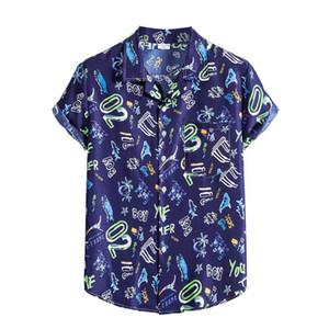 Feitong 2020 Shirt Mens Ethnic Short Sleeve Casual Printing Hawaiian Summer Shirt Turn Down Neck Holiday Shirts Blouse