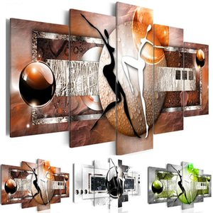 Modular Canvas Pictures Bedroom Home Decor 5 Pieces Colourful Figure Ball Painting Prints Abstract Dance Poster Wall Art Framed