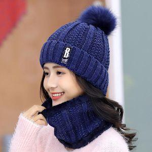 Beanie Skull Caps Warm Winter Skullies Beanies Knitted Hat Women Brand High Quality Ball Ski Wool Fur PomPoms Hats Scarf