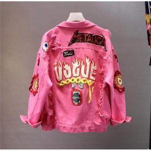 레드 / 옐로우 청바지 재킷 새로운 봄 가을 여성 낙서 알파벳 인쇄 레이스 활 핀 구멍 데님 코트 학생 기본 코트 201210