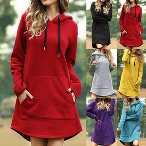 Hiver Vintage Femmes Robes À Capuche à manches longues Casual Plus Casual Plus Taille Robe Dames Couleur Solid Pocket Midi Robe Streetwear 201125