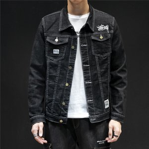 High quality casual and simple Men Slim embroidery blue & black Cotton Denim Jacket Hip Hop jeans Jackets Coat Plus Szie 5XL 201123