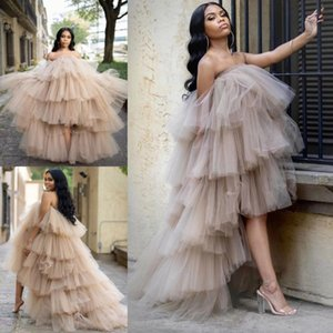 Ruffles Tulle High Low Evening Dresses 2021 African Sexy Strapless Tired Tutu Skirt Prom Gowns Backless Formal Party Robes De Soirée AL7699
