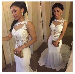 2021 Sexy Mermaid Wedding Dresses Appliques Lace Illusion Bodice Long Train Trumpet Bridal Formal Reception Dress Wedding Gowns Cheap