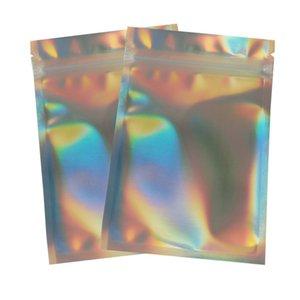 Sacos de maquiagem de maquiagem resselável sacos holográficos Laser Pet Material Alimentos Bolsas De Armazenamento Folhas De Papel de Bolso 100 pcs / Pack 0 23HW E19