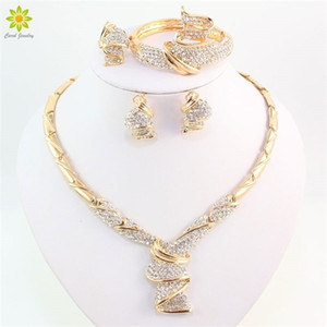 Wholesale Fashion Gold Color Alloy Rhinestone Wedding Jewelry Sets Necklace Bracelet Ring Earrings For Women Bridal Z1201