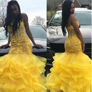 Long Mermaid Yellow Prom Dresses 2021 South African Black Girls Sweetheart Lace Appliques Graduation Evening Party Gowns Tiers Skirt