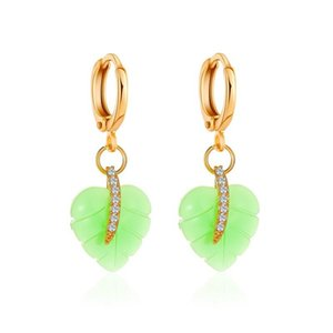 Fresh Green Heart Leaf Earrings Hoops Fashion Gold Copper Crystal Ear Buckle For Women Party Holidays Gifts Ear Jewelry Hot