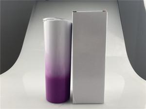 Low cost 20ok Ombre Skinny Tumbler Gradient Color Double Walled Acciaio in acciaio inox isolato con ritmo di paglia