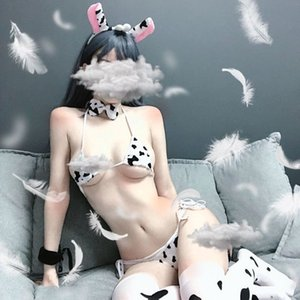 Erotic sexy lingerie cow micro bikini lolita bra put on anime underwear cosplay dress sleepwear set bdsm bondage