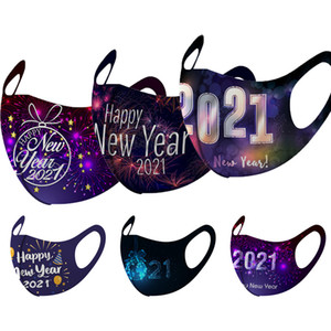 fashion face mask designer 2021 New Year printed mask adult cold-proof breathable dustproof 3D mouth masks fireworks facemask
