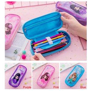 Quicksand lentejuelas bolso pluma kawaii papelería niños niñas escuela portátil escuela lápiz caja cosméticos bolsa de lápiz de gran capacidad HWD3270