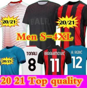 2020 2021 AC Mailand Ibrahimovic Tonali Fußball Jersey Mann Vierter 4. Rebic Bennacer Theo Tonali Football Jersey Maglia Mailand 20 21