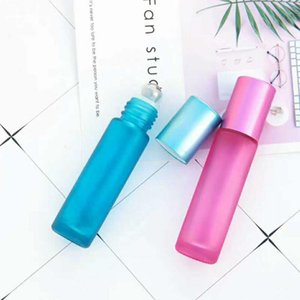 10ml Glass Essential Oil roller Bottles Rainbow Series Frosted Glass Perfume Roll on Bottle Travel Size Bottle GWD3573