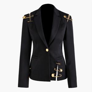 2020 Otoño Invierno Manga larga con muesca-solapa Black Paneled Tulle Hollow Out Pines Button Blazers Elegant Casual Outwear Abrigos NN24C1027