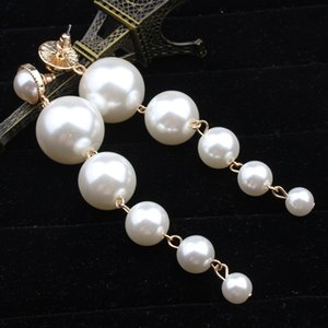 Wholesale---Exquisite beautiful and new style white pearl long earrings , ladies and girls and children best love earring