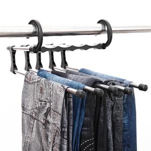 Pantalones de ropa de acero inoxidable Multifunción Mágica Pantalones de tubo de acero inoxidable Rack Retractable Pantalones Pantalones Titular de almacenamiento Hanger Organizador de hogar AHD3096