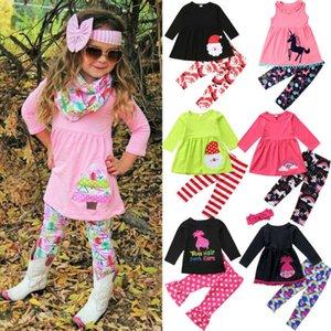 Toddler Kids Baby Girls Unicorn Xmas Dress Top+tree Pants Leggings Xams Outfits Christmas Clothes Set