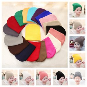 1-5 Years Kids Infants Plain Knit Beanie Ski Hat Skull Caps Slouchy Thick Knitted Winter Hats Children Solid Blank Color Beanies E112602
