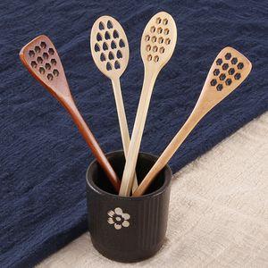 Miel de madera cucharas de café mezclando larga cuchara herramientas de abeja de miel agitador muddler agitando el palillo miel dipper talla de madera agitación espiras yhm197