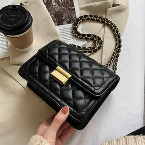 Lingge PU Leather Crossbody Bag 2021 New High Quality Women's Designer Handbag Vintage Chain Trending Shoulder Cross Body Bag