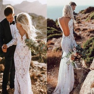 Verngo Sexy Boho Mermaid Backless Bohemia Lace Wedding Gowns Long Sleeves Bride Dress Custom Made Vestido de noiva Q1113