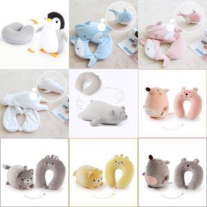 Oreillers portables 2 en 1 oreiller en forme de U Coussin de déformation de dessin animé peut être transformé Enfants Jouet Jouet Penguin Foom Foam Particules XD24377