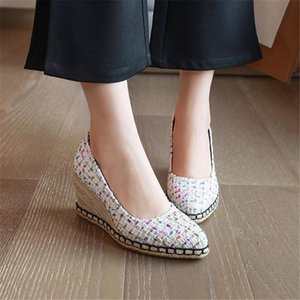New Fashion Pointed Toe Female High Heel Footwear Simple Lady Big Size 32-44 Pumps Wedge Shoes For Women Espadrilles