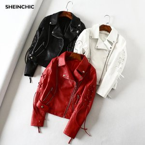 Autumn 2020 Women Motorcycle Jacket Outerwear Soft Pu Leather Red White Black Jacket Biker Drawstring Female Coat Casaco