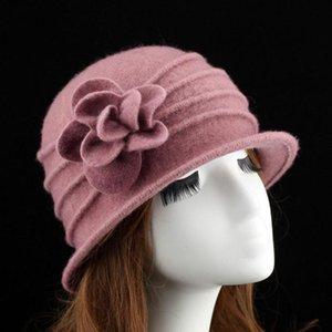 Fibonacci Otoño Invierno Mujeres Floppy Fedora Hat Floral Wool Dome Bucket Sombreros Caliente Mamá Cap