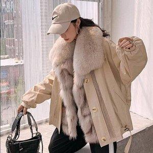 Zdfurs * 2020 NOUVEAU PARKER Femmes Manteau de fourrure détachable avec collier Doublure intérieure Hiver Vêtements chauds