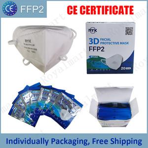FFP2 Mask CE сертификат маска для лица индивидуально упаковка 5 слой анти-грипп пыленепроницаемый Mascarilla EU Whitelist многоразовые маски
