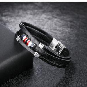 queen66 2020 Trendy Leather Bracelet Men's British Style Black PU Tassel Chain Link Bracelet Jewelry for Male Gifts