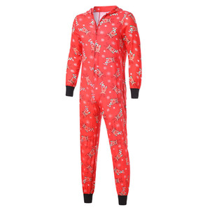 Christmas parent-child fashion hooded Christmas printed jumpsuit Christmas home clothes jumpsuit