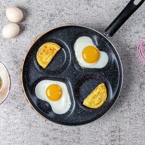 Alüminyum dört delikli kızartma pot kalınlaşmış omlet pan yapışmaz yumurta gözleme tava taşınabilir pişirme yumurta jambon tavalar kahvaltı yapımcısı vt1942