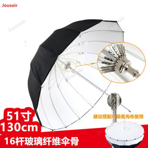 130cm Deep parabolic rubber reflective umbrella reflective soft Light photography 16 fiber bone white CD05 T03
