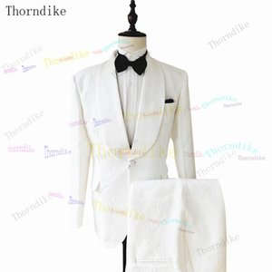 Thorndike Costume Homme White One Buttom Tuxedo Men Suits Slim Fit Groom Prom Dress Blazer 2 PCS Male Terno Masculino Slim Fit