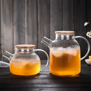 Borosilikatglas Teekanne Wasserkocher Hot Cold Resistant Dual Nutzung Bambus Teekanne für Coffee-Shop Lieferungen Großhandel Neueste Hitzebeständige FWF3506