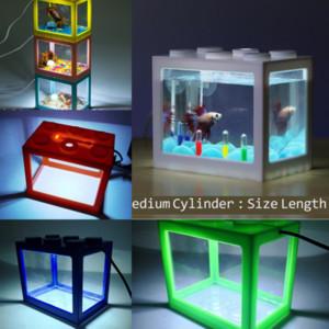 Saoyi Packhigh Lego Blokları Işık Bitki Balık Tankı Aqrium Balık Tankı Plastik Kurşun Akvaryum NerisSus Su Işık Çim Yapay Habitat
