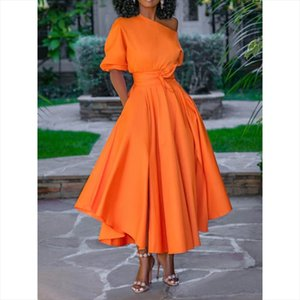 2019 Casual Long Dress Women Summer One Shoulder Sexy Street Travel High Waist Robe Ladies Big Swing Evening Elegant Day Dresses