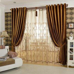 Cortinas de lujo Cortinas de franela sólidas Preparadas con trenzas Coloridas Beige / Marrón / Dorado / Púrpura Beads incluidos