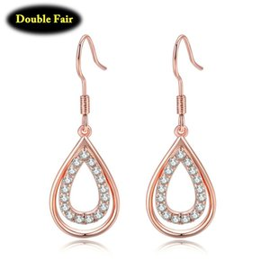 1 Pair Waterdrop Shape Drop Earrings Clear Zircon Crystal Rose Gold Color Jewelry Gift For Women 2020 New DWKC151M