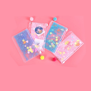 A6 PVC Notebook Pocket with 6 Holes Glitter Plastic Binder Inserts Pockets 6 Ring Loose Leaf Bags Filofax Zipper Envelopes Flakes 148 N2