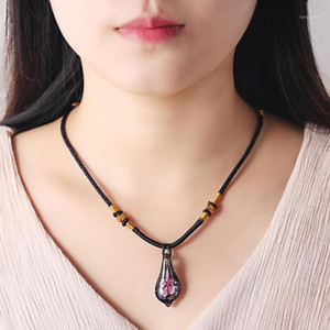 2021 Water Drop Murano Glass Inner Flower Pendant Necklace for Women Simple Ethnic Style Glass Sweater Chain Fashion Jewelry1