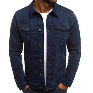 Men's Jackets Autumn Winter Fashion Solid Color Long Sleeve Button Down Lapel Multi Demin Jacket Outerwear Baseball sweatshirt