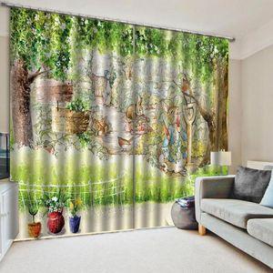 CartoonRabbit Thin Windows Curtains for Living Room Bedroom Decorative Kitchen Curtains Drapes Window Treatments Dripping Custom