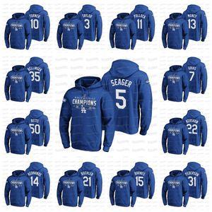 NCAA Mookie Betts Los Angeles 2020 WS Champions Lock Room Hoodie Cody Bellinger Seager Kershaw Turner Muncy Buehler Kelly Jersey