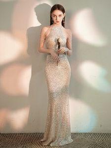YIDINGZS Elegant Off Shoulder Beads Sequin Evening Dress New Sliver Long Evening Party Dress 201119