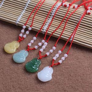 Heißer Verkauf Guanyin Anhänger Imitation Green Jade Buddha Halskette Glas Schmuck DMFN587 (mit Kette) Mischungsauftragsstücke Anhänger Halsketten